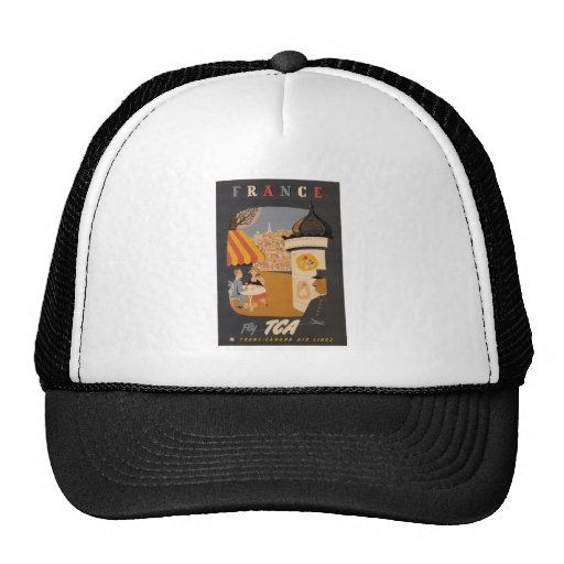Parisian Cafe Travel Poster Hat