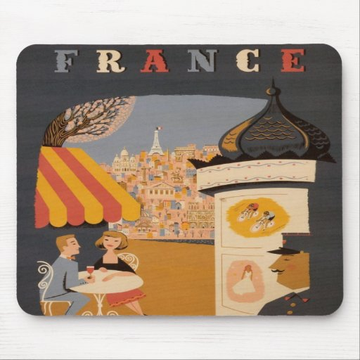 Parisian Cafe Travel Poster Mouse Pad