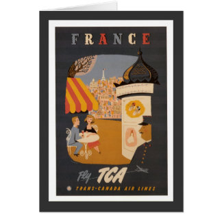 Parisian Cafe Travel Poster Vertical Greeting Card