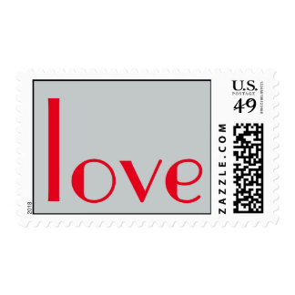 Parisian Calligraphy Grey Red Love Postage