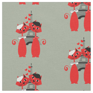Parisian Cats Cute Paris Themed Fabric