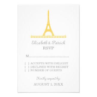 Parisian Chic Response Card Yellow Personalized Invite