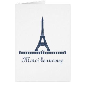 Parisian Chic Thank You Card, Blue Card