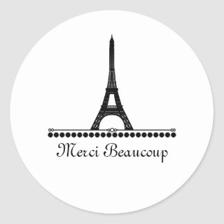 Parisian Chic Thank You Stickers, Black Classic Round Sticker