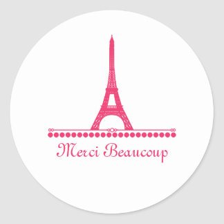 Parisian Chic Thank You Stickers, Pink Classic Round Sticker