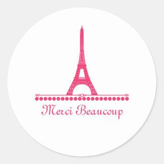 Parisian Chic Thank You Stickers, Pink Classic Round Sticker