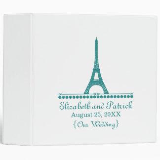 Parisian Chic Wedding Binder, Teal 3 Ring Binder