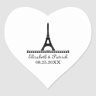 Parisian Chic Wedding Stickers, Black Heart Sticker