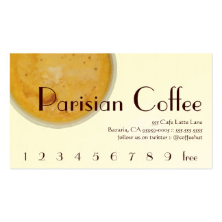Parisian Coffee Drink Loyalty / Punch Card Business Card Template