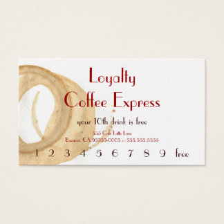 Parisian Coffee Stain Drink Punchcard Business Card