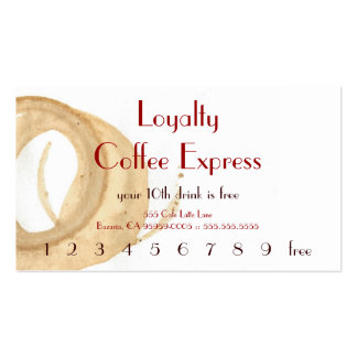 Parisian Coffee Stain Drink Punchcard Business Card Templates