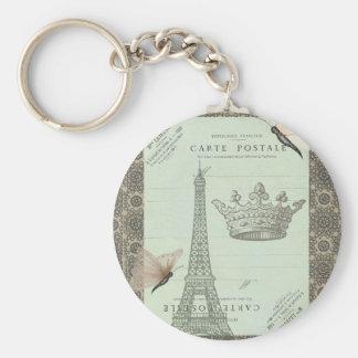 Parisian Collage Basic Round Button Keychain