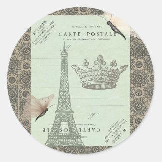 Parisian Collage Classic Round Sticker