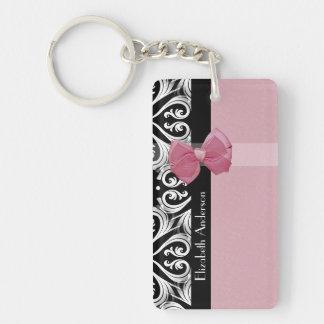 Parisian Damask Pink and Black Chic Bow With Name Single-Sided Rectangular Acrylic Keychain