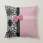 Parisian Damask Pink and Black Chic Bow With Name Throw Pillow