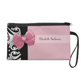 Parisian Damask Pink and Black Chic Bow With Name Wristlet
