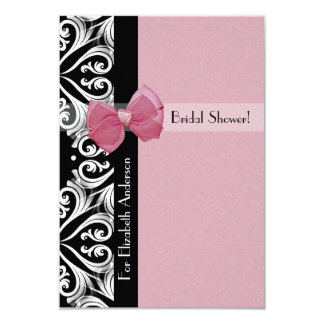 """Parisian Damask Pink Ribbon Bridal Shower 3.5"""" X 5"""" Invitation Card"""