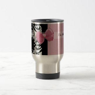Parisian Damask Pink Ribbon With Name 15 Oz Stainless Steel Travel Mug
