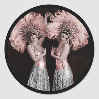 Parisian Dolly Twins Classic Round Sticker