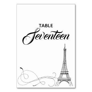 Parisian Doodles Table Number