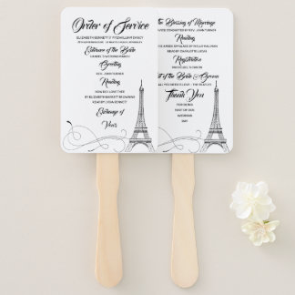 Parisian Doodles Wedding Program Hand Fan