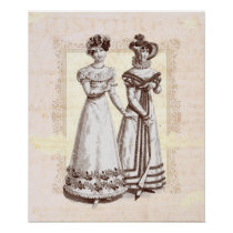 Parisian Dresses of the Biedermeier Period Poster