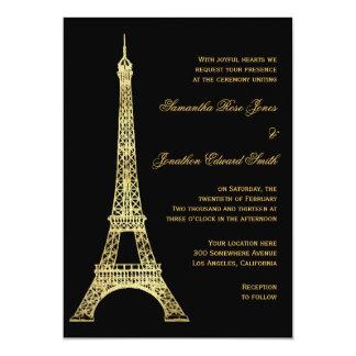 Parisian Eiffel Tower Black and Gold Wedding Card