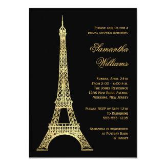 Parisian Eiffel Tower Black & Gold Bridal Shower 4.5x6.25 Paper Invitation Card