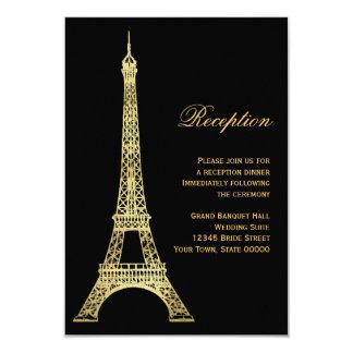 "Parisian Eiffel Tower Black & Gold Reception Card 3.5"" X 5"" Invitation Card"