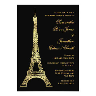 Parisian Eiffel Tower Black Gold Rehearsal Dinner Card