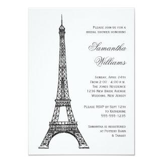 "Parisian Eiffel Tower Black & White Bridal Shower 4.5"" X 6.25"" Invitation Card"