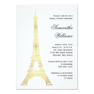 "Parisian Eiffel Tower Gold Bridal Shower 4.5"" X 6.25"" Invitation Card"