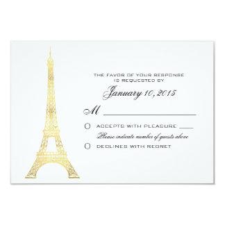 Parisian Eiffel Tower Gold Wedding RSVP Custom 3.5x5 Paper Invitation Card