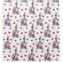 Parisian Eiffel Tower Purple Chic Shower Curtain