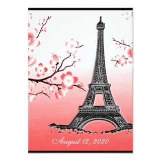 Parisian Eiffel Tower Red Wedding Invitations