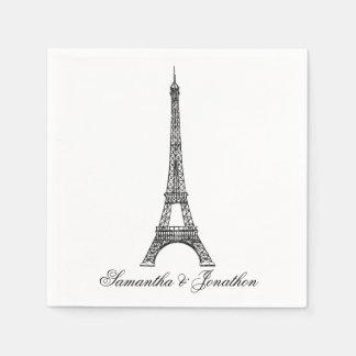 Parisian Eiffel Tower Wedding Custom Napkins