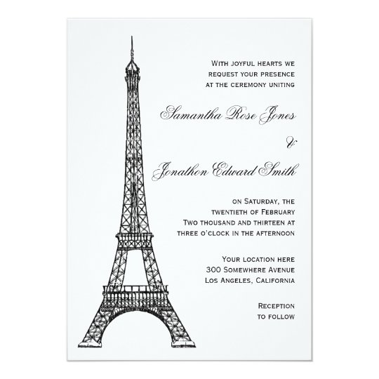 Eiffel Tower Wedding Invitations: Parisian Eiffel Tower Wedding Invitation