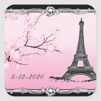 Parisian Eiffel Tower Wedding Invitation Seals Square Sticker