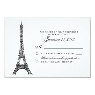Parisian Eiffel Tower Wedding RSVP Custom Card