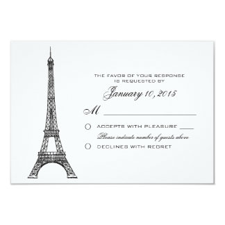 Parisian Eiffel Tower Wedding RSVP Custom 3.5x5 Paper Invitation Card