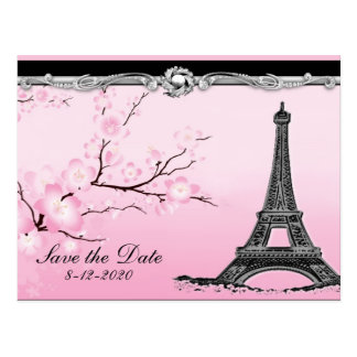 Parisian Eiffel Tower Wedding Save the Date Cards Post Cards