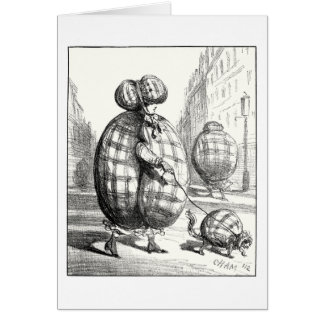 Parisian fashion in anticipation of bombardments greeting card