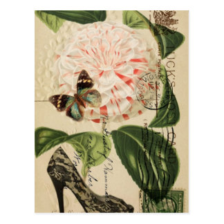 Parisian fashion stiletto french botanical art postcard