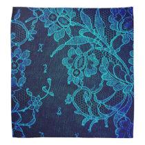 Parisian Feminine Victorian Gothic Navy Blue Lace Bandana