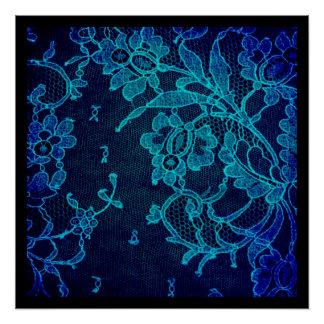 Parisian Feminine Victorian Gothic Navy Blue Lace Poster