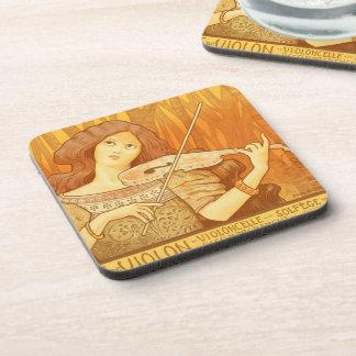 Parisian French Art Nouveau Violinist Music Lesson Drink Coaster