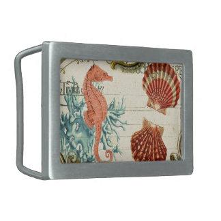 Parisian french modern vintage seashell seahorse rectangular belt buckle