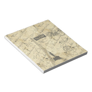 Parisian French script with French postage Note Pad