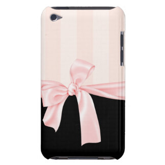 Parisian Girly Pink Stripes & Light Pink Bow iPod Touch Cases