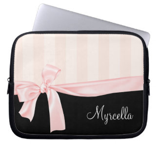 Parisian Girly Pink Stripes & Light Pink Bow Computer Sleeve